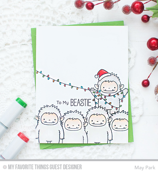 Handmade card from May Park featuring Birdie Brown Beast Friends stamp set #mftstamps