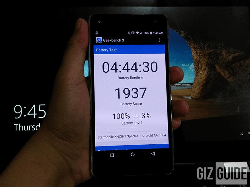 Battery test result under heavy settings