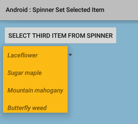 How to set selected item of Spinner programmatically in Android