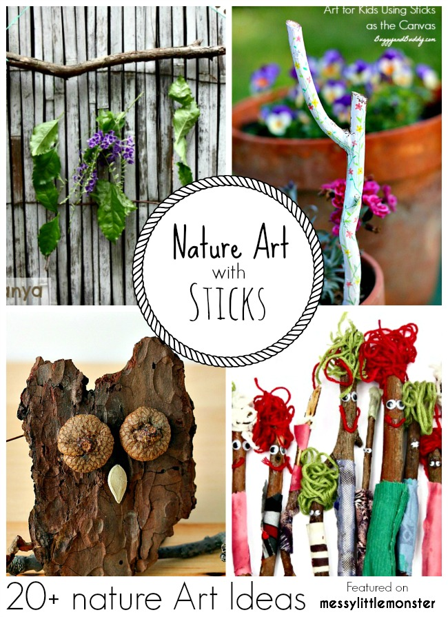 Summer Nature Art and Craft Ideas for kids using sticks. 20 fun outdoor activity ideas using nature for toddlers, preschoolers and older kids to enjoy.