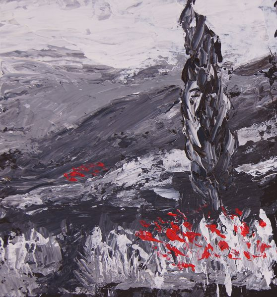 Abstract Landscape Black And White Plus One By Marion Hedger