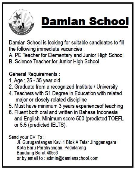 Lowongan Kerja Damian School Maret 2017