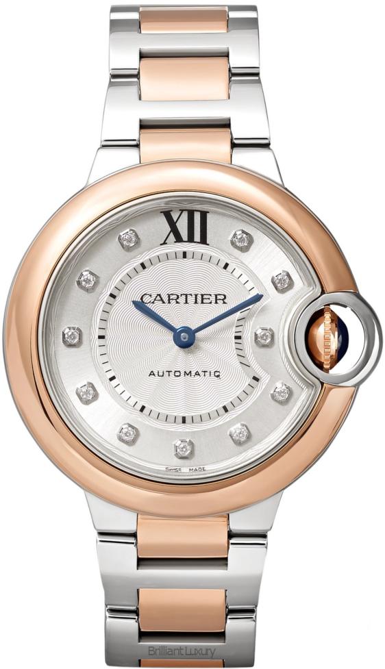 Brilliant Luxury♦Cartier Ballon Bleu de Cartier 18-karat pink gold, stainless steel and diamond watch
