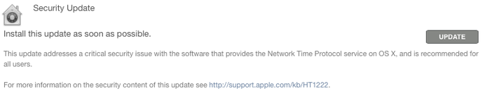 Download NTP Security Update for OS X Yosemite, OS X Mavericks, OS X Mountain Lion