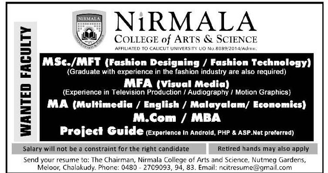 Nirmala College Of Arts And Science Thrissur Wanted Teaching Faculty Faculty Teachers