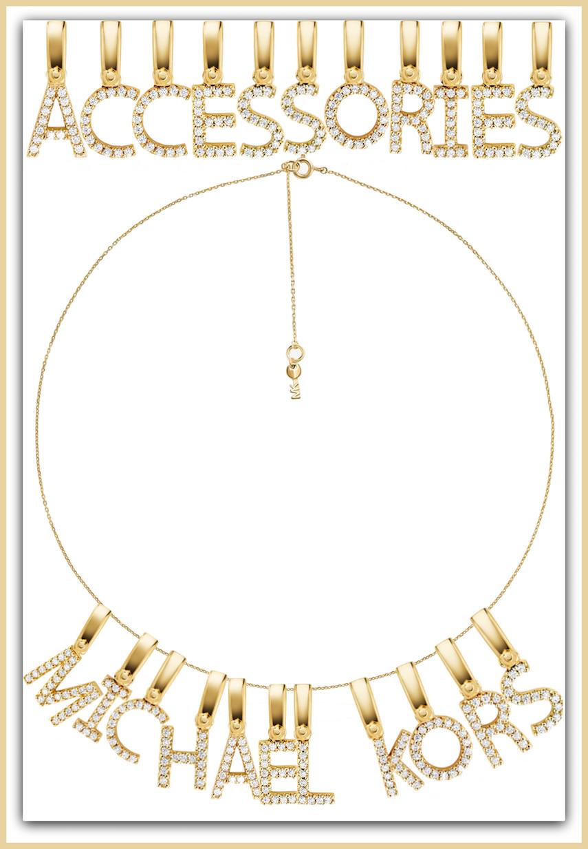MICHAEL KORS 14K Gold-Plated Sterling Silver Pavé Alphabet Charms