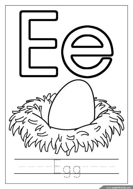 Alphabet coloring page, letter e coloring, e is for egg