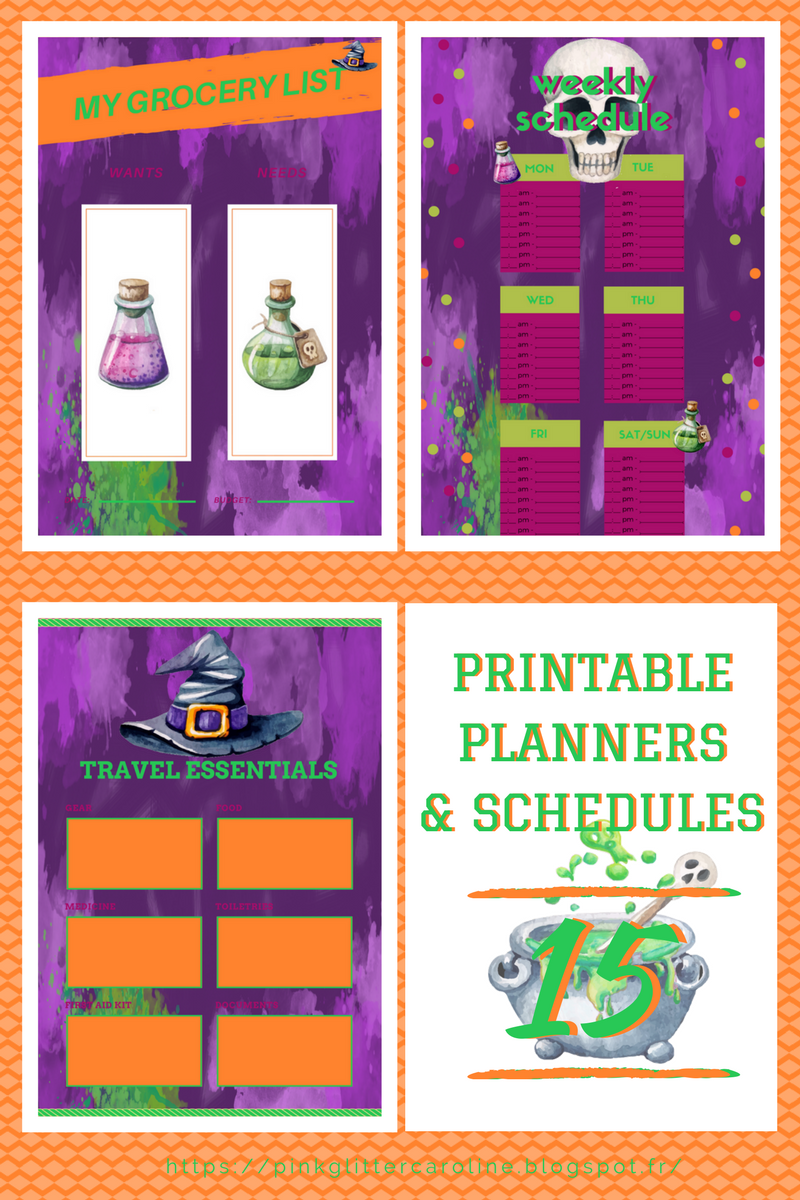 article 15 free printables imprimables gratuits planners agenda to-do list schedule listes design toil and trouble halloween PinkGlitter