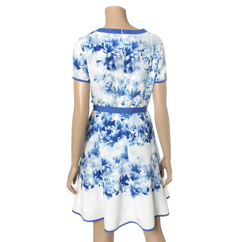 Blue Floral Flared Dress