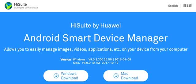 Descargar Huawei HiSuite para windows y mac