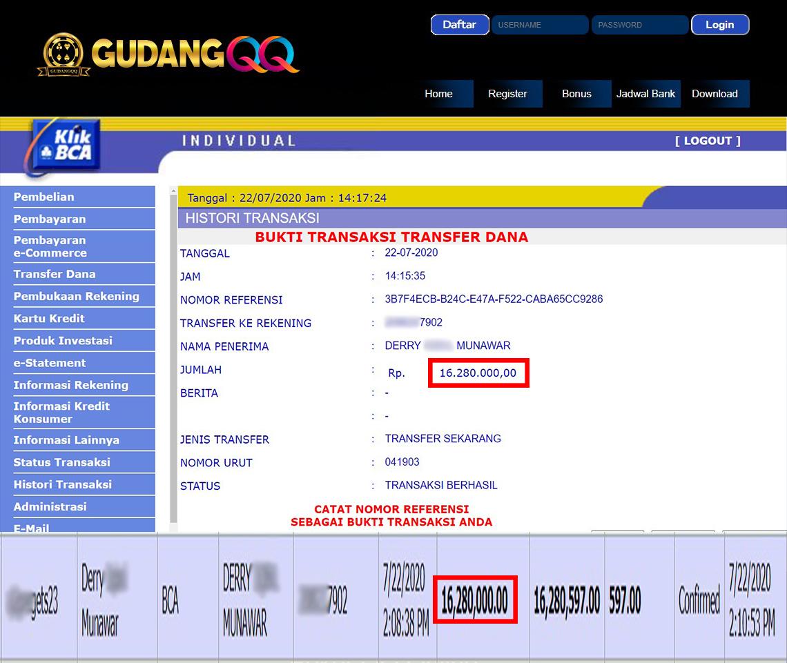 Selamat Kepada Member Setia GudangQQ WD sebesar Rp. 16,280,000.-