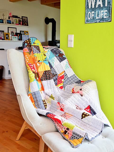 Babyquilt aus Dreiecken @frauvau.blogspot.de
