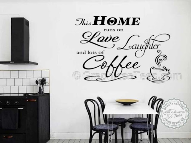 Wall Mirror Stickers Wall Mirror Stickers this home runs on coffee kitchen dining room funny family wall sticker quote black