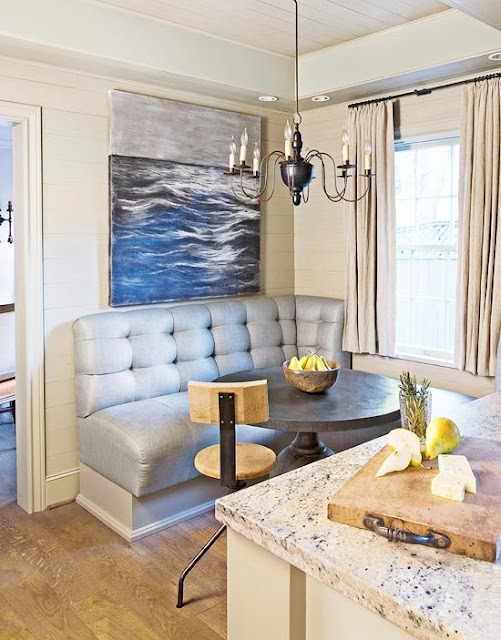 Custom banquette with tufting in kitchen designed by Eleanor Cummings