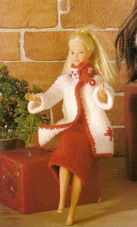 Casaco de crochê para Barbie com gráfico