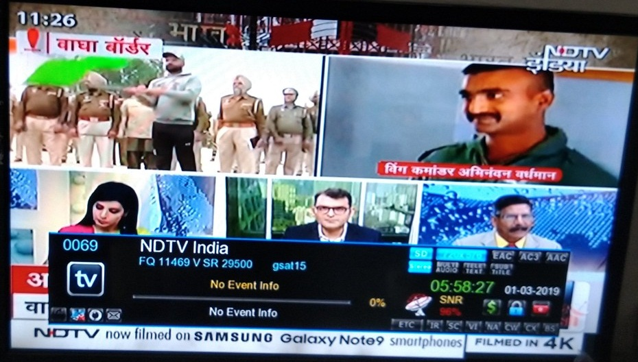 NDTV India News Channel added on DD Free Dish at Channel No