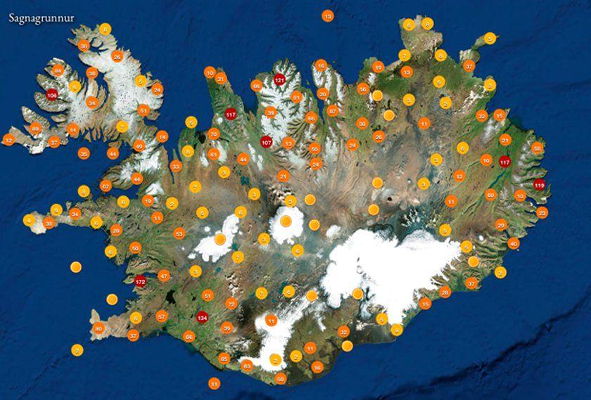 Mapa dos elfos na Islândia