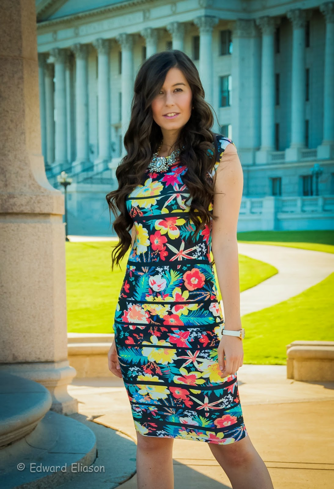 salt lake city, salt lake city capitol, capitol building, floral bodycon dress, bodycon dress, floral dress, pink pumps, amiclubwear, klaus kobec, watch,