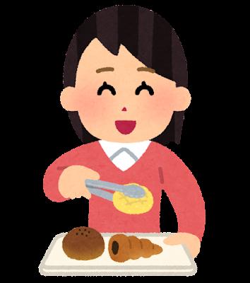 トレイにパンを乗せる人のイラスト(女性)