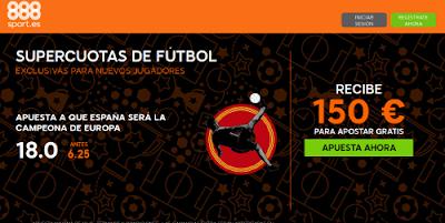 888sport bienvenida 150 euros + supercuota 18 España campeona Eurocopa 2016