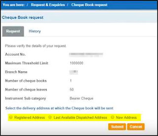 enter address for sbi chequebook
