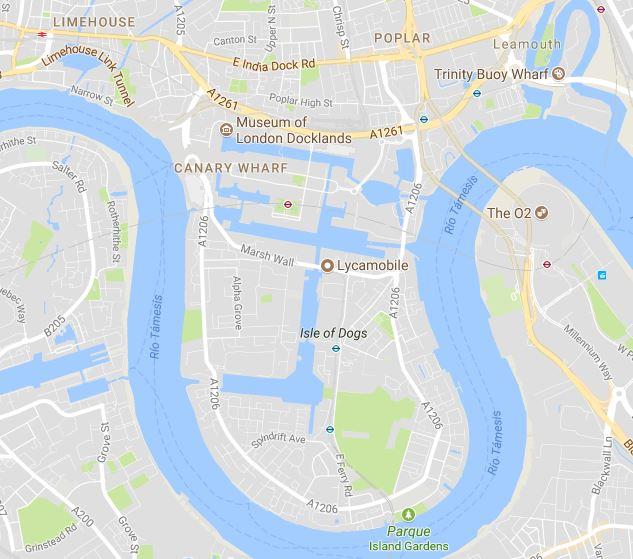 mapa de la isla de perros Londres