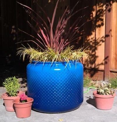 Pot bunga dari drum mesin cuci.