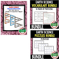 Earth Science, Anchor Charts, Game Cards, Puzzles, Vocabulary Activities, Choice Boards, Digital Interactive Notebooks, Word Walls, Picture Puzzles, Test Prep, Atoms, Ions, Minerals and Rocks, Fossils, Landforms, Waterways, Earth's Layers, Plate Tectonics, Atmosphere, Earth's Forces, Astronomy, Pollution