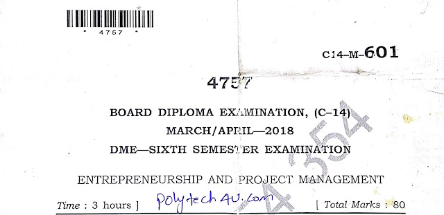 C-14 DIPLOMA ENTREPRENEURSHIP AND PROJECT MANAGEMENT OLD QUESTION PAPER 2018