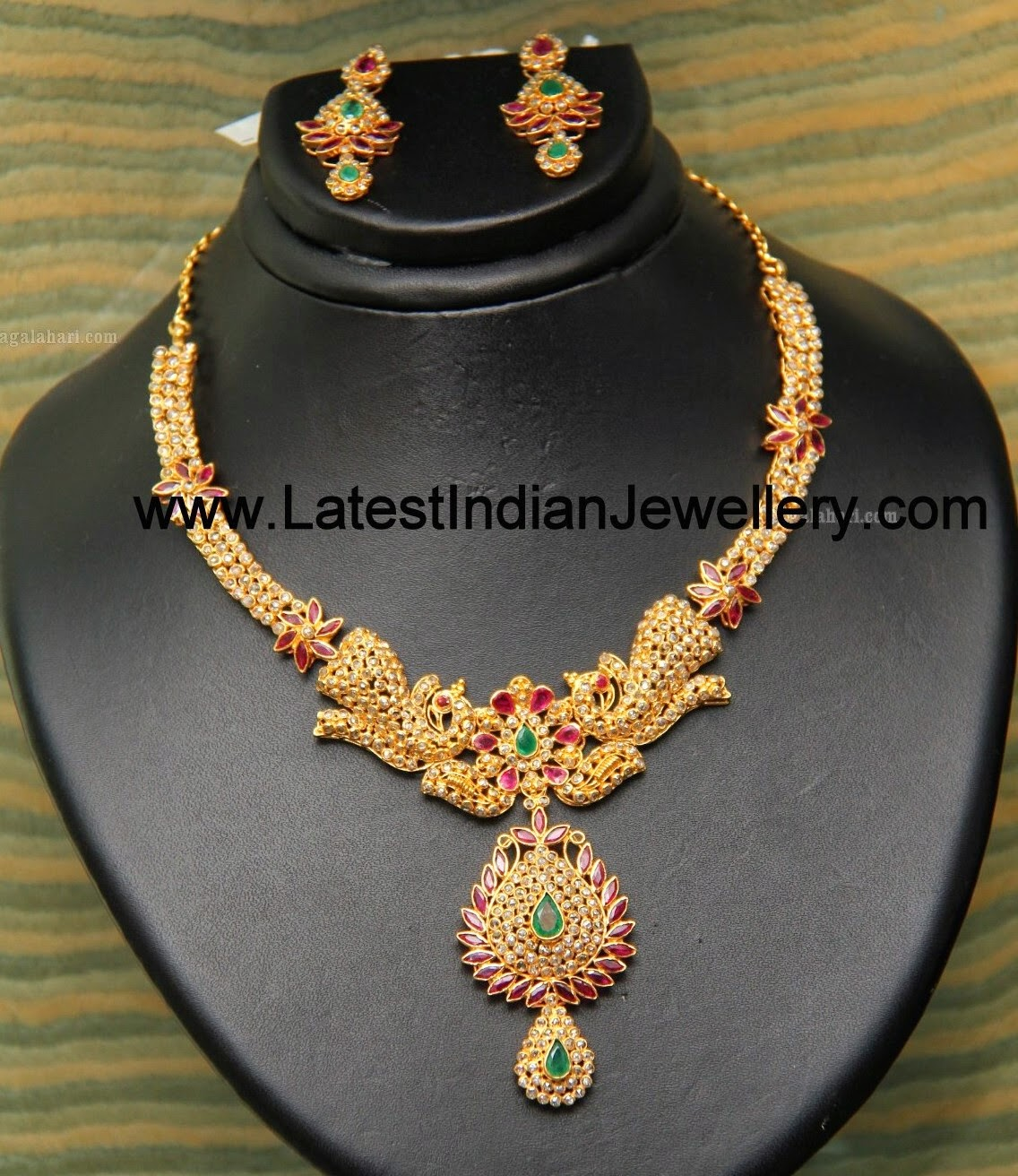 Uncut Diamond Ruby Peacock Necklace