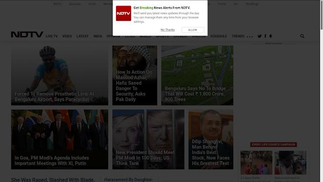 Screenshot of NDTV's landing page