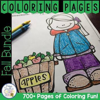This DISCOUNTED bundle comes with a SUBSTANTIAL DISCOUNT of less than 3 cents a page compared to purchasing each resource separately. Your students will love how this coloring pages bundle has over 700+ pages of Print and Go Coloring Pages for Back to School, Fall, Apples, Vowels, Pets, Cute Kids, Fire Safety, Halloween, Columbus Day, Spiders, Bats, Thanksgiving, Hanukkah, Kwanzaa, Christmas and Classic Children's Stories, more than enough for an entire semester! Bind different pages together for your treasure box or an adorable Christmas gift! Color for Fun First Semester Bundle for July to December.