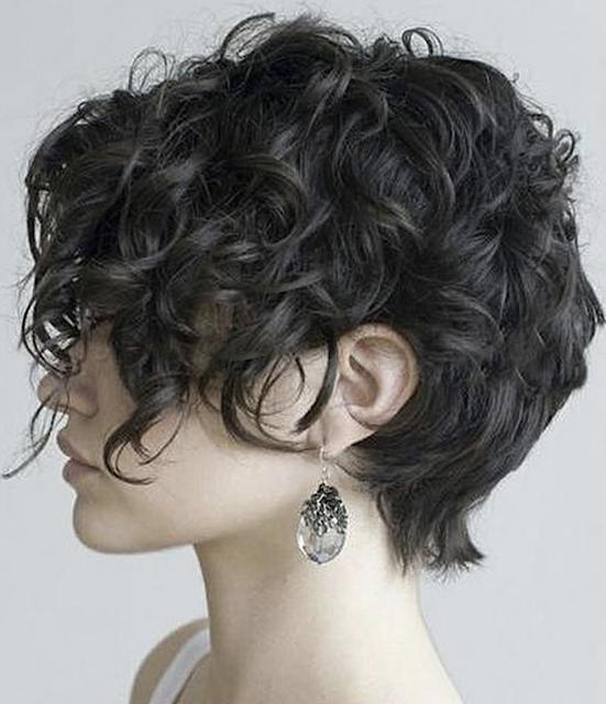 Asymmetrical short curly hair style image