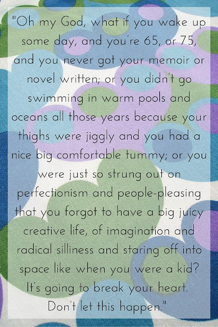 inspirational Anne Lamott quote discussing perfectionism and creative life over vintage moygashel fabric