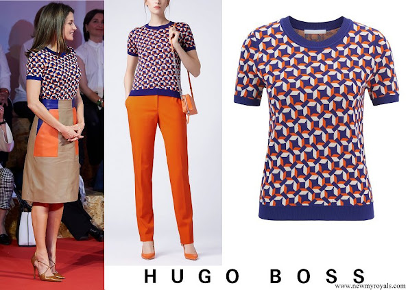 Queen Letizia wore HUGO BOSS Felisabeth Short sleeved sweater