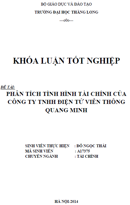 Phân tích tình hình tài chính của Công ty TNHH Điện tử Viễn thông Quang Minh