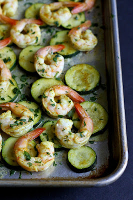 Roasted Curry Shrimp and Zucchini Sheet Pan Meal from Cookin' Canuck - featured for Low-Carb Recipe Love on Fridays found on KalynsKitchen.com