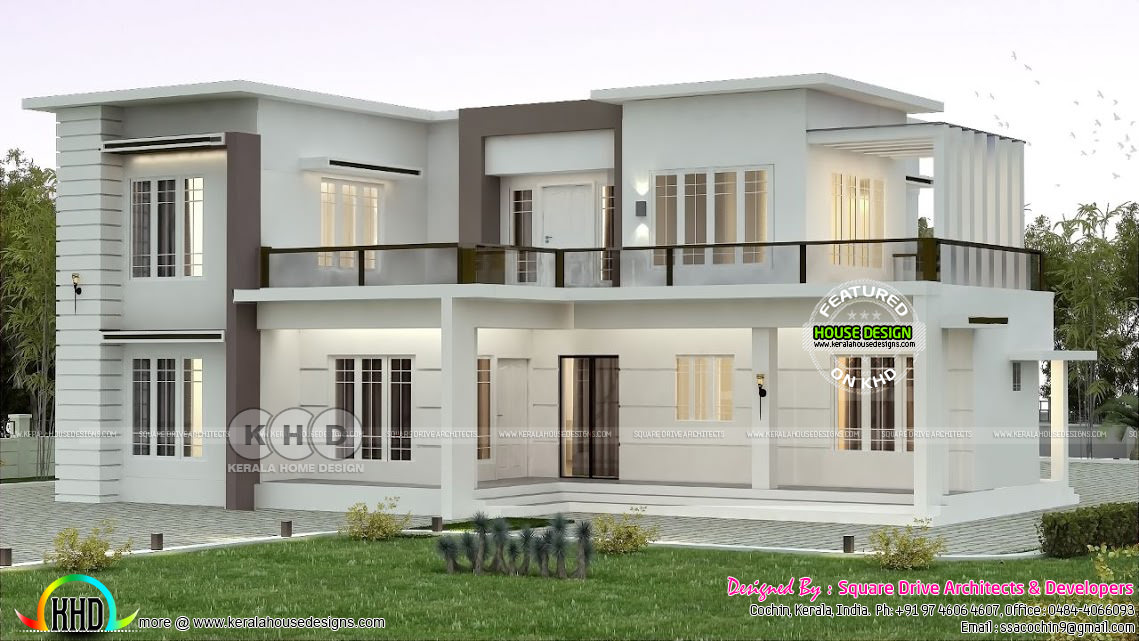 2000 Sq Ft Flat Roof Home Plan With 4 Bedrooms Kerala