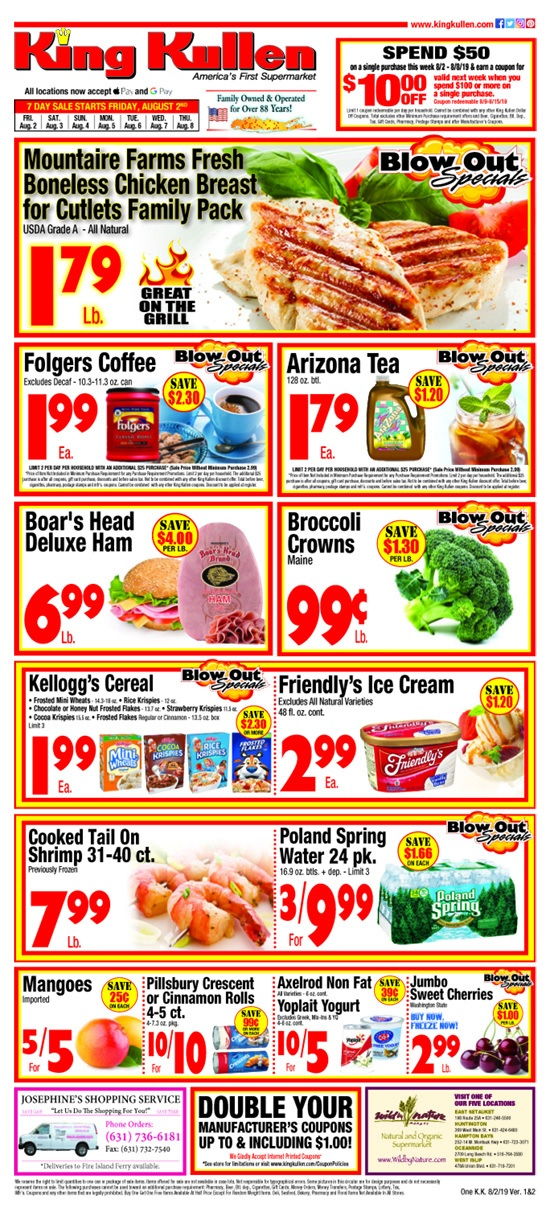 King Kullen Sales Ad August 9 - 15, 2019
