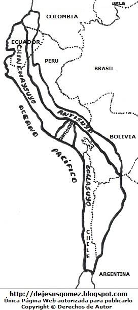 Dibujo del Mapa del Tahuantinsuyo para colorear, pintar o imprimir. Mapa del Tahuantinsuyo indicando nombres hecho por Jesus Gómez
