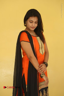 Telugu Actress Chandana Stills in Salwar Kameez at Karam Dosa Movie Press Meet  0096.JPG