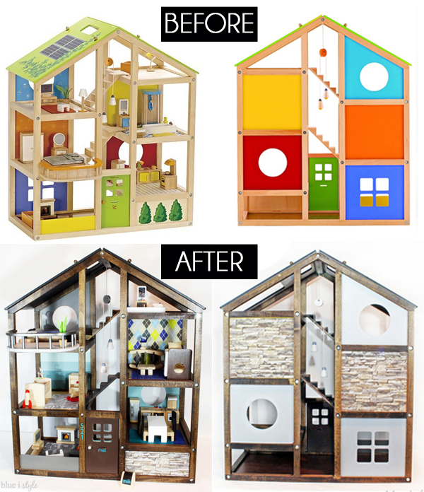 Wood dollhouse makeover before and after