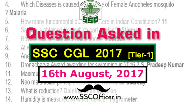 Question Asked in SSC CGL 2017 Tier-1 on 16th August- [PDF]- SSC Officer