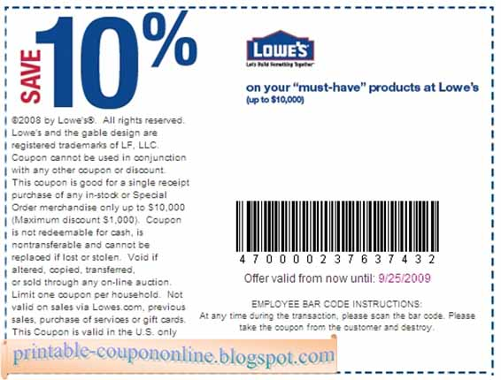 Lowes online coupon codes