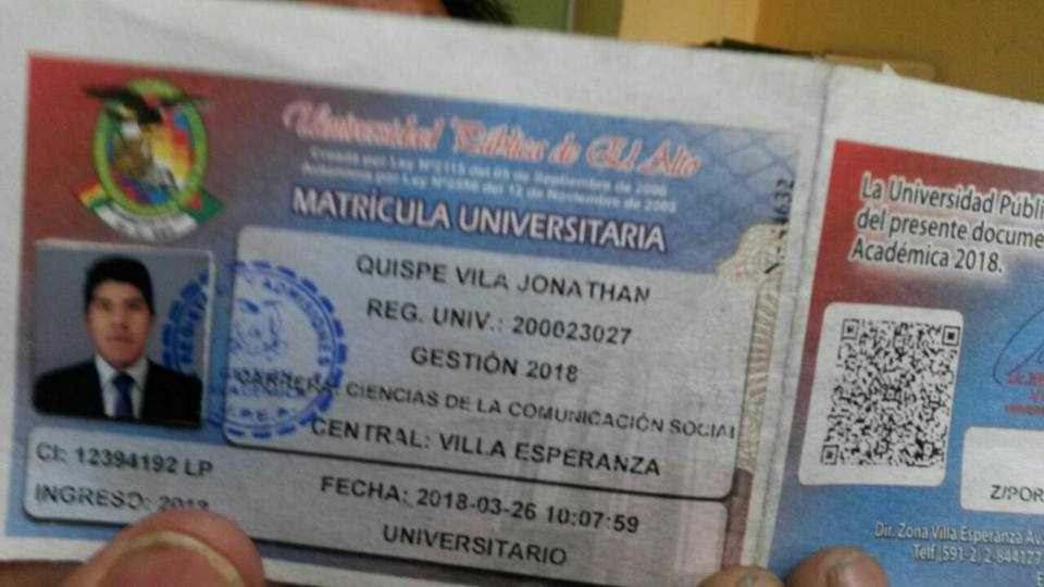 El joven recién comenzaba a estudiar Comunicación Social en El Alto / RRSS