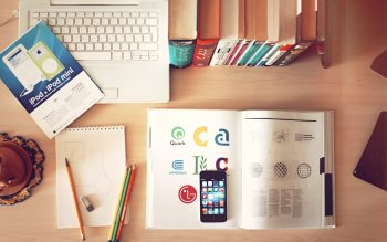 Wallpaper: Books, laptop and smartphone