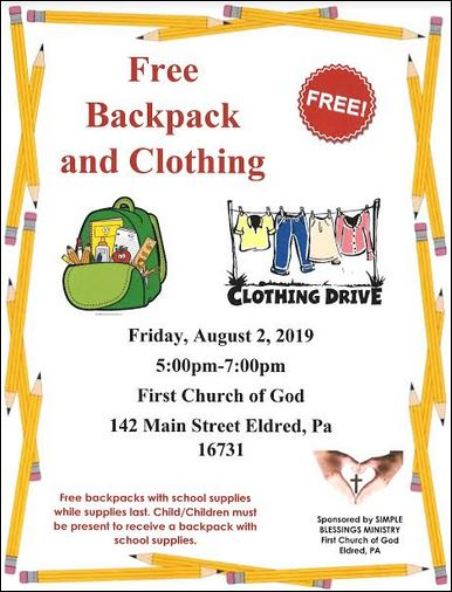 8-2 Free Clothing & Backpack Event