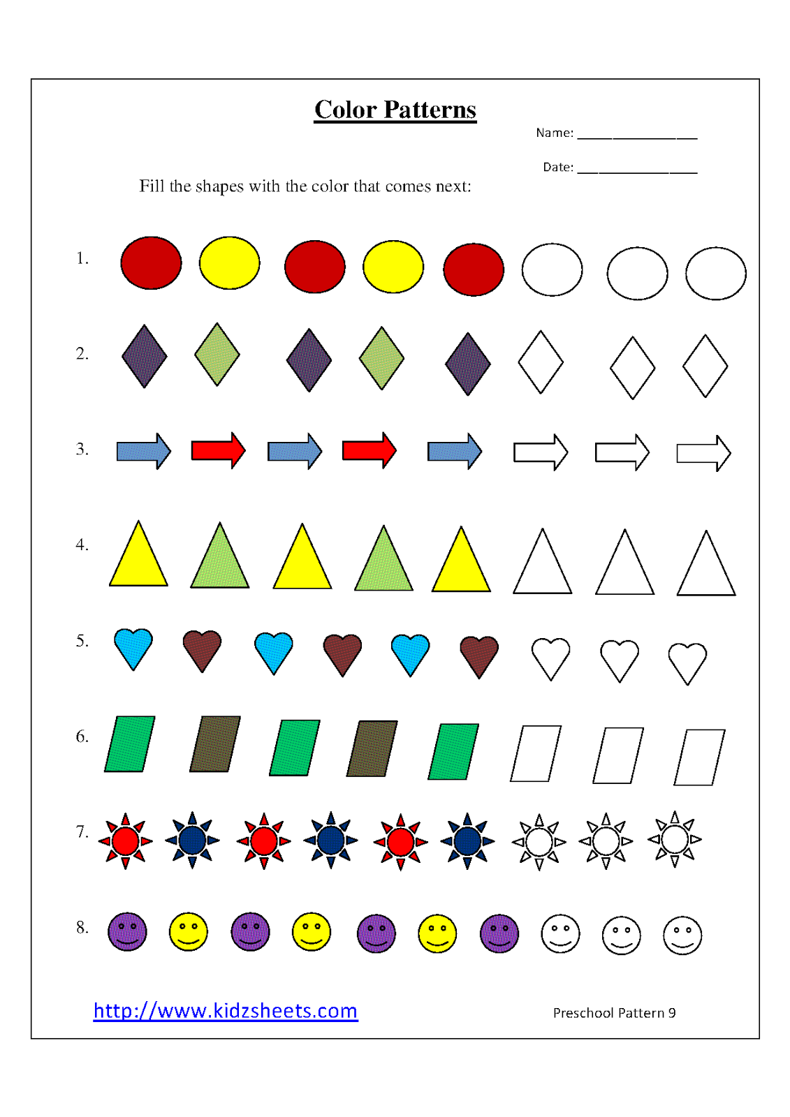 Kidz Worksheets: Preschool Color Patterns Worksheet9 [ 1600 x 1131 Pixel ]