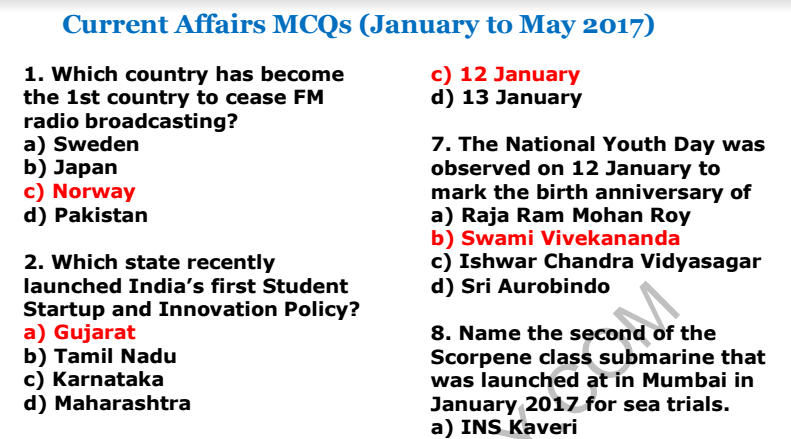 Last 6 Months Current Affairs MCQs PDF for SSC CGL 2017 Examination