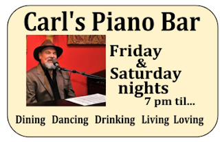 Carl's Piano bar advertisement at the Chill Restaurant in St Pete Beach, Florida